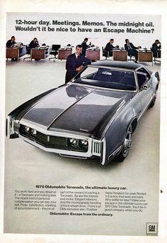 1970 Oldsmobile Toronado Advertisement Newsweek October 13 1969 (by SenseiAlan) American Classic Cars, American Muscle Cars, Oldsmobile Toronado, Pub Vintage, Car Advertising, Us Cars, Old Ads, Retro Cars, General Motors