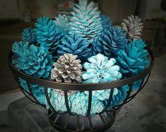 New Year Pinecone Basket/Table Decor/Pinecone Table Turquoise Christmas, Coastal Christmas, Blue Christmas, Christmas Crafts, Prim Christmas, Pine Cone Art, Pine Cone Crafts, Pine Cones, Pine Cone Decorations