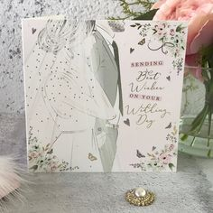 'Sending best wishes on your Wedding Day' - A stunning wedding card for a gorgeous Bride and Groom. The light catches all the delicate embossing, foiling and sparkling gems on this wedding card and the fabulous illustration is so perfect for such a very special day. Contemporary and so elegant this is a high-quality card on a fabulous board stock presented with a coordinating envelope. Hand embellished in The Potteries in Stoke On Trent. Stoke On Trent, On Your Wedding Day, Special Day, Wedding Cards, Envelope, Groom, Delicate, Presents, Sparkle