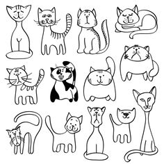 Home pets, cute cats in doodle style by MicroOne on @creativemarket