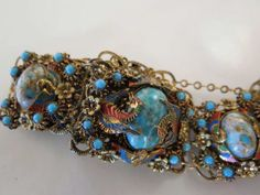 Neiger-Czech-Enamel-Dragons-Turquoise-Glass-Cabochon-Bracelet