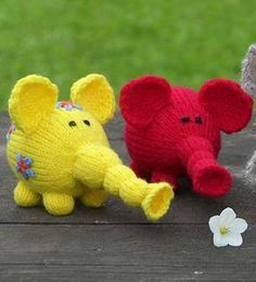 Free Knitting Pattern for Flower Power Elephants
