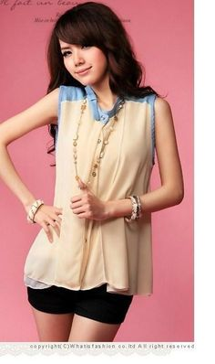 Creamy Chiffon Sleeveless Button Through Mao Collar With A Ribbon Asian Fashion Shirt