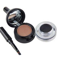 Brown Eyebrow Powder +Black Eyeliner Gel Cream 2 In 1 Long-Wear Waterproof Sweat Eyebrow Enhancer With Eyebrow Brush