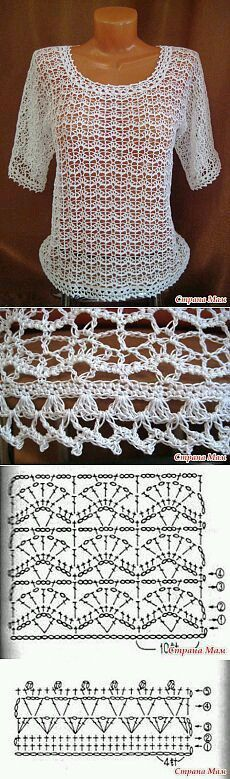 Mi baúl de Inspiraciones : Más blusas con diagramas para tejer en crochet.