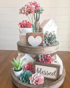 I quickly added these new double sided flowers to my tiered tray this morning and these flowers are officially my new favorite! They add… Seasonal Decor, Holiday Decor, Tray Styling, Tiered Stand, Country Farmhouse Decor, Tray Decor, Diy Home Decor, Table Decorations, Spring