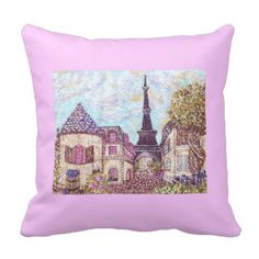 """#Paris #EiffelTower #pointillism #inspired #landscape on #pink #pillow - my art on custom FABRIC by the yard, fat quarter or 9x9"""" $6 swatch, plates, ribbon, kitchen towels, messenger bags, nail decal art, guitar picks, dessert treats, jewelry, pillows, and more at http://zazzle.com/fabricatedframes?rf=238001022235983905 #fabric #iphone #cases #pillows #chocolate are #25% off, everything else is #10% off #code #TENTH4ZAZZLE"""