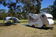 Homemade teardrop camper trailer (design inspired by Kampmaster / Wild Goose teardrop trailer) at Boyd Town, NSW More