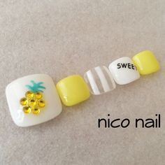 Latest Free Toe Nail Art pineapple Tips Frequently if the world thinks with ft ., we expect they can be messy and indeed certainly not the m Pineapple Nail Design, Pineapple Nails, Love Nails, How To Do Nails, My Nails, Uñas Diy, Uñas Fashion, Feet Nails, Japanese Nails