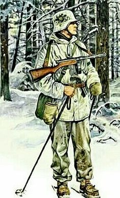 Finnish soldier in winter camo armed with Suomi mp/31 and a flare gun tucked in his belt - pin by Paolo Marzioli