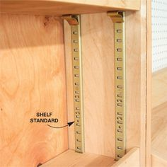 Easier to build than fixed shelves -- Adjustable shelves make space more versatile, and they're usually just slabs of plywood nosed with strips of wood or edge banding, so they're easy to make. And because you can remove them, adjustable shelves simplify Woodworking Toys, Woodworking Patterns, Woodworking Projects, Woodworking Classes, Woodworking Machinery, Legos, Built In Shelves, Diy Wood Projects, House Projects