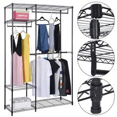 "48""x18""x71"" Portable Clothes Closet Hanger Organizer Storage Rack Heavy Duty New 