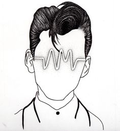Arctic Monkeys inspired head, based on AM logo and Alex Turner's portrait. Dotted/Stippled portrait of Alex Turner, including the AM album logo. A4 sized paper, high quality paper. www.amyjacksonart.wordpress.com