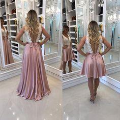v-neck Short Prom Dress with Attachable Long Skirt,Long