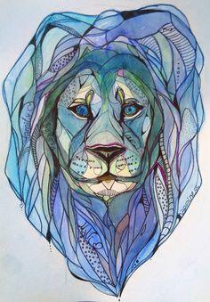 Watercolor Lion , watercolor, graphic arts, brush, rapidograph, blue, Lion, animal