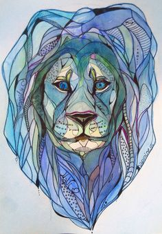 Watercolor Lion , watercolor, graphic arts, brush, rapidograph, blue, Lion, animal