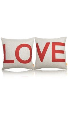 "OJIA 18 X 18"" Cotton Linen Decorative Couple Throw Pillow Cover Cushion Case Couple Pillow Case, Set of 2 - Love Best Price"