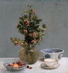 Henri Fantin-Latour, Still Life with a Vase of Hawthorn, Bowl of Cherries, Japanese Bowl, and Cup and Saucer, 1872, Dallas Museum of Art