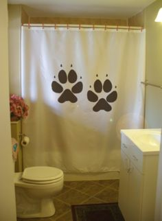 shower curtain dog paw print track canine pup puppy by eternalart