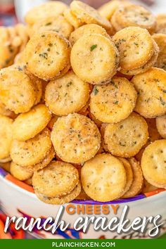 Cheesy Ranch Crackers - ritz bits tossed in a quick ranch mixture. SO good!!! Great for parties and in soups and chilis. We always have a bag in the pantry. Ritz Bits Cheese Sandwich Crackers, oil, Ranch mix, garlic powder. Can make in advance and store in an air-tight container. #tailgating #appetizer #ranch #cheese #partyfood Snack Mix Recipes, Appetizer Recipes, Cooking Recipes, Tailgate Appetizers, Snack Mixes, Dessert Recipes, Top Recipes, Party Recipes, Vegan Recipes