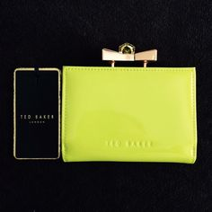 """🎉HP🎉 Ted Baker London wallet coin purse Authentic Ted Baker patent lime green exterior, cream leather interior, and rose gold hardware wallet coin purse with 6 credit card slots. Measure approx. 4.75"""" wide x 3.5"""" high. Brand new with tags. Ted Baker Bags Wallets"""