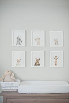 Soft animal prints above the changing table