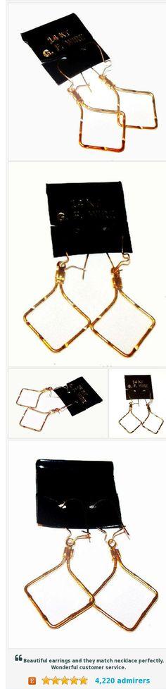 """Gold Wire Dangle Earrings Signed 14 KT GF 1 1/2"""" NOS Vintage https://www.etsy.com/BrightgemsTreasures/listing/539930127/gold-wire-dangle-earrings-signed-14-kt?ref=listing-shop-header-1"""