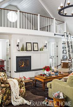Inviting Christmas decorated stone cottage in New England Beach Cottage Style, Beach Cottage Decor, Beach House, Cottage Ideas, Interior Design Advice, Sleeping Loft, Family Room Design, Beach Cottages, Traditional House