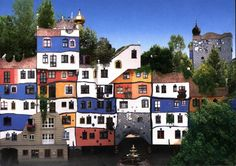 , a few hundred meters from the Hundertwasser House in Vienna is the Kunst H. Tibet, Beautiful Architecture, Interior Architecture, Interior Design, Beautiful Images, Beautiful World, Painted Mailboxes, Crooked House, Friedensreich Hundertwasser