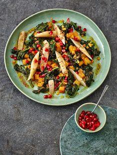 Rezept: Grünkohlsalat mit Linsen und Granatapfel