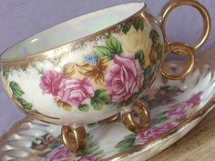 Vintage iridescent teacup and saucer Royal Sealy by ShoponSherman