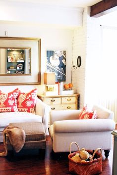 Nice idea for creating the living room space in one corner of the room.