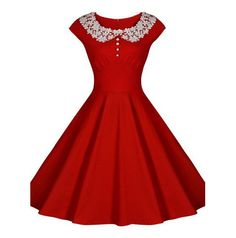 Red Vintage Dress with Lace Collar