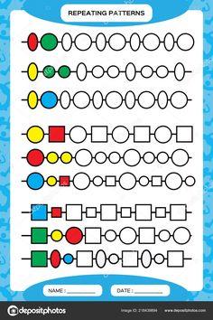 Preschool Learning Activities, Kindergarten Worksheets, Worksheets For Kids, Printable Worksheets, Measurement Worksheets, Pattern Worksheet, Math Patterns, Learning Through Play, Repeating Patterns