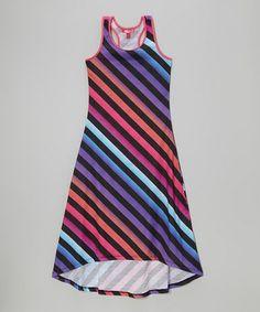 Another great find on #zulily! Purple Diagonal Stripe Racerback Maxi Dress - Toddler & Girls #zulilyfinds