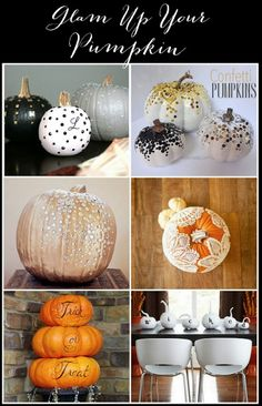 3 alternatives to Carving your pumpkins this year! #halloween #DIY #pumpkins #glam