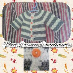 Handmade by: Petit Cossette Complements, hermosa chaqueta rayada, tejida a crochet para bebe, amplia gama de colores, info x tallas