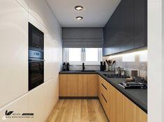 Galley Kitchen Design, Simple Kitchen Design, Kitchen Room Design, Interior Design Kitchen, Black Kitchen Decor, Home Decor Kitchen, Home Kitchens, Long Narrow Kitchen, Black Kitchen Countertops