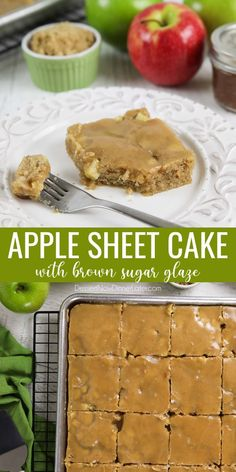 This easy apple sheet cake is made with fresh apples + apple butter for maximum apple flavor. It's soft, velvety, moist, full of cinnamon, and topped with a brown sugar glaze. A great fall dessert that serves a crowd. Fall Dessert Recipes, Fall Desserts, Fruit Recipes, Apple Recipes, Just Desserts, Fall Recipes, Baking Recipes, Homemade Apple Butter, Homemade Cake Recipes