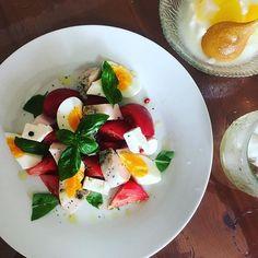 WEBSTA @ maki0902maki - 仕込んでおいた鳥ハムと自家製バジルとでサラダごはん!1人ごはんは質素になります〜誰か食べに来てー><…