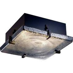 "Justice Design Group FSN-5555-MROR Fusion Collection 12"" Square Clips Flush-Moun Dark Bronze Indoor Lighting Ceiling Fixtures Flush Mount"