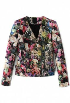 Blooming Floral Print Biker Jacket