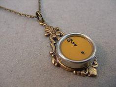 Typewriter Key Jewelry Necklace BUTTERSCOTCH by magiccloset, $24.00