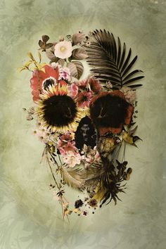 "Ali GULEC gives life to death in the light version of his ""Garden Skull"" art print, available in several sizes up to 28"" x 40"" at Society6."