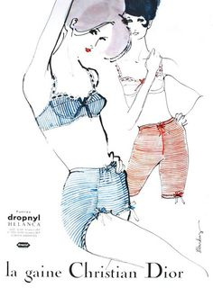 L´Officiel June 1963. Christian Dior Lingerie - Illustrator Mouchy.