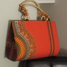 Orange Dashiki Bag with Beaded Handle by Florieks on Etsy