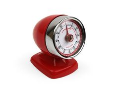 55 Min. Streamline Rotary Kitchen Timer Retro Red by Kikkerland The Cadillac of kitchen timers. Brings to mind an Old Time Car Mirror in shape. Put this 55-minute kitchen timer on your counter to make