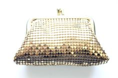 Vintage Whiting and Davis Mesh Coin Purse Evening Bag Gold Mini Small Kiss Lock #WhitingandDavis #evening