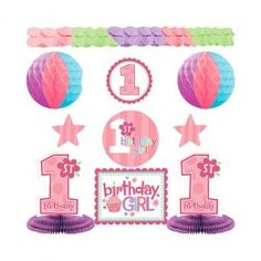 Girls 1st Birthday Decorating Kit discount party supplies