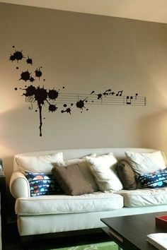 Splatter in D Minor:  No need to buy the decal:   Easy to paint. All you need is black paint, a ruler and some courage to throw paint on your wall.